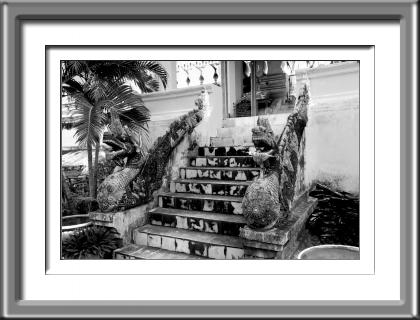 Laos, Dragon, Stairs, Black and white, Buddhist Temple