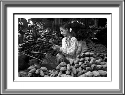 market, Burma, Myanmar, woman, black and white