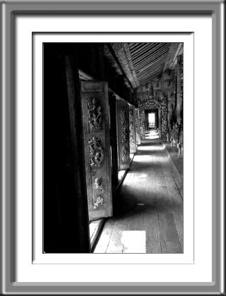 monestary, pagoda, wooden, black and white, Burma, Myanmar