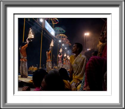 Varanassi, Evening, Pooja, prayers, hindu, India, woman, night, fire