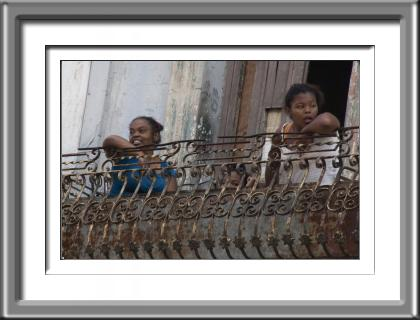 children, girls, Cuba, Havana, balcony