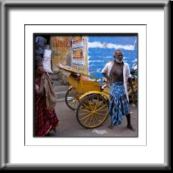 older man,India woman, rickshaw, pedicab
