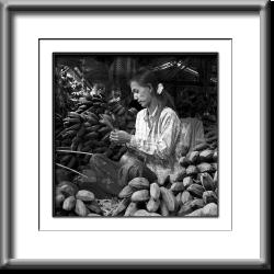 market, Burma, Myanmar, woman, black and white