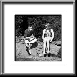 boy, girl, couple, young love, black and white