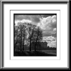 landscapes, Russia, clouds, black and white